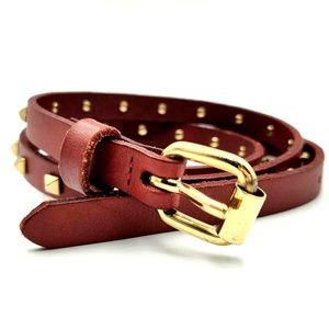 NEW CLUB MONACO Oxblood Leather Belt Skinny Stud M
